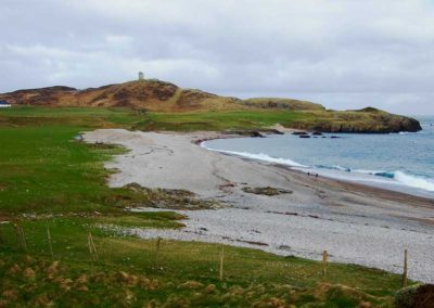 Pebble Cottage Malin Head Inishowen - view towards Lloyds Tower at Malin Head