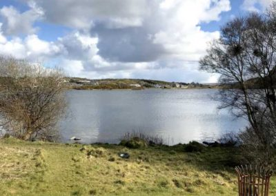 Woodhill at Sessiagh lake near Dunfanaghy - view over deck to lake