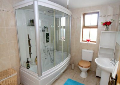 Bathroom with bath-shower combo