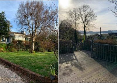 The holiday home has mature lanscaped grounds and enjoys views towards Lough Swilly